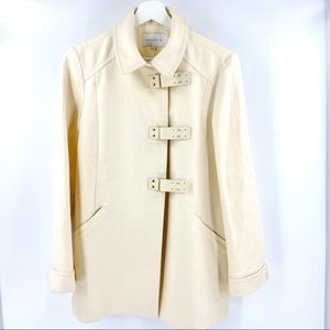 Sandro cream wool coat with lamb leather details